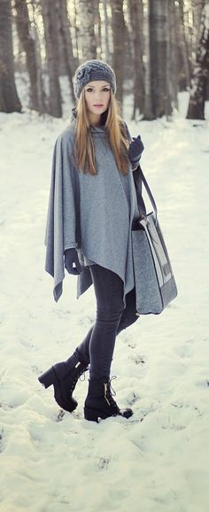 Grey New Cape Cardi   Skinny Denim
