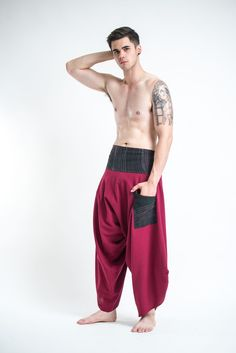 Men's Thai Button Up Cotton Pants with Hill Tribe Trim Red