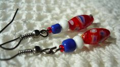 Blue-white-red handmade earrings for all days