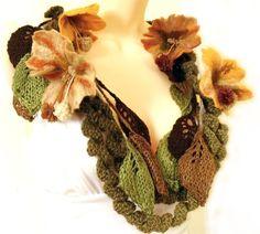 "Scarf lariat with felt flowers crochet knit  freeform necklace brown vanila orange Victorian ""Autumn"". $59.00, via allmadewithlove on Etsy."