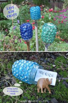 how pretty are these?  I have been looking for some interesting touches to my garden...I think this is it...Garden Treasure Jars Craft