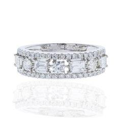 18k White Gold Diamond Wedding Band 1.35ct TDW  Size 6.5  100% REAL #UniQJewels #Band #Wedding