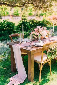 Farm Table and Silk Runner for a Country Garden Wedding wedding pink Peach Flower Romance for a Carmel Valley Wedding Farm Table Wedding, Rustic Wedding Venues, Wedding Table Decorations, Reception Table, Table Centerpieces, Wedding Centerpieces, Wedding Ideas, Wedding Fayre, Wedding Inspiration