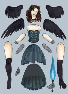 Dark Angel articulated paper doll by BlackbirdAndMagpie on Etsy