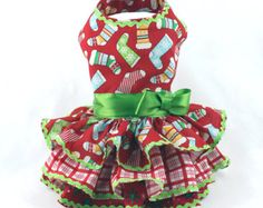 Dog Dress Dog Harness Dress Christmas Dress by LittleDogFashion