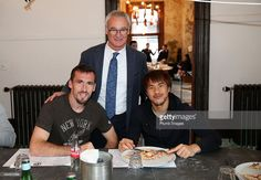 Manager Claudio Ranieri with Christian Fuchs and Shinji Okazaki during Leicester City's visit to Peter Pizza, Leicester, after manager Claudio Ranieri kept his promise of pizza for his squad after keeping their first clean sheet of the season on October 29, 2015 in Leicester, United Kingdom.