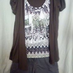 Top with built on cover up Layered look top with built in cover up. Shiny layer like look.  Scoop neck.  Stretchy fabric.  Very flowy and comfy AB Studio Tops Blouses