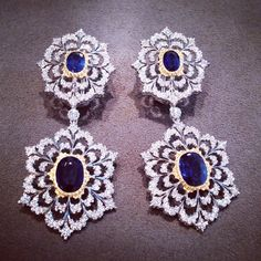 Exquisite Pendant Earrings with Sapphires and Diamonds in 18k White and Yellow Gold.