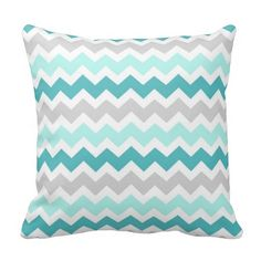 Elegant and modern bright turquoise aqua teal blue, grey and white retro chevron zigzags stripes vintage pattern decorative throw pillow. Fully customizable, add your own text or photo for a truly unique home decor item.