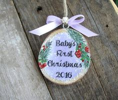Baby's First Christmas Ornament Rustic Wood by ForesteDiOro