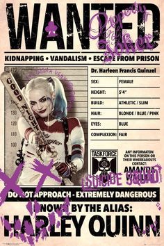 Buy Suicide Squad Poster - Harley Quinn Wanted online and save! Suicide Squad Poster – Harley Quinn Wanted This poster delivers a sharp, clean image and vibrant colours. This poster is printed on high quality pape. Arlequina Margot Robbie, Margot Robbie Harley Quinn, Margot Robbie Poster, Harley Quinn Et Le Joker, Harley Quinn Drawing, Dc Comics, Harey Quinn, Suicide Squad, Der Joker