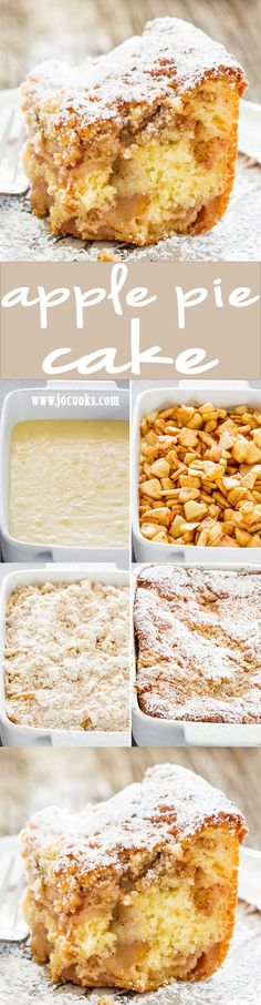 Apple Pie Cake - Is it pie or is it cake? For those times when you can't decide if you want pie or cake, this apple pie cake will satisfy both cravings! (Canned Apple Recipes) 13 Desserts, Delicious Desserts, Dessert Recipes, Apple Desserts, Plated Desserts, Apple Recipes, Baking Recipes, Sweet Recipes, Cupcakes