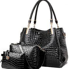 b4b3a1d64d1c4 Elegante Alligator Muster drei Stücke Umhängetasche Cross-Körper  Damentaschen (schwarz)
