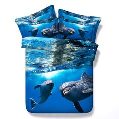 4PCS/Set/Lot Ocean Bedding set bedspread 3D Dolphin duvet cover sets bed in a bag sheet quilt Cal King queen size Twin single bl #Affiliate