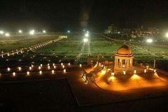 Night view of bagh iban e qasim park city karachi pakistan