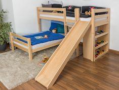 Flexa camerette ~ Flexa mid high bed with straight ladder and slide white