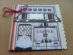 """Coffee Shop Clipart on Craftsuprint designed by Eileen Mikolayunas - made by Angela Styles - A fun """"retro"""" feminine image!I printed this out and mounted it on to an 8x8 card blank.I added ribbon, asentiment and sparkly card candi to complete.This is a very versatile design which can be easily resized for decoupage etc. - Now available for download!"""