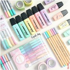 💖💛💚💙💜 Absolutely amazing pastel color pen collection by ~ You can find all these gorgeous pens in our online store (link… Study Room Decor, Cute Room Decor, School Stationery, Cute Stationery, Stationary Organization, Stationary Supplies, Art Supplies, Shop Organization, Cool School Supplies