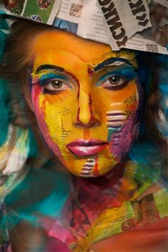 Very cool collage makeup. Interesting use of newspaper.