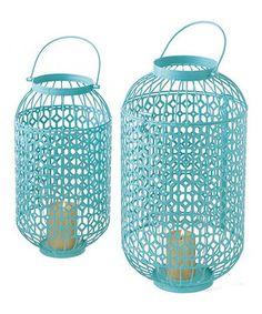 Another great find on #zulily! Mint Lattice Pillar Lantern Set by Midwest-CBK #zulilyfinds