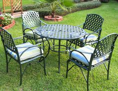 Lumpy cushions and snapped lounge chair straps be gone! Wrought iron furniture is designed to last a lifetime and has a more refined feel. Dining sets, gliders, and rockers by International Caravan, Home Styles, and Oakland Living in classic black and white finishes are timeless and bring elegance to every outdoor setting.