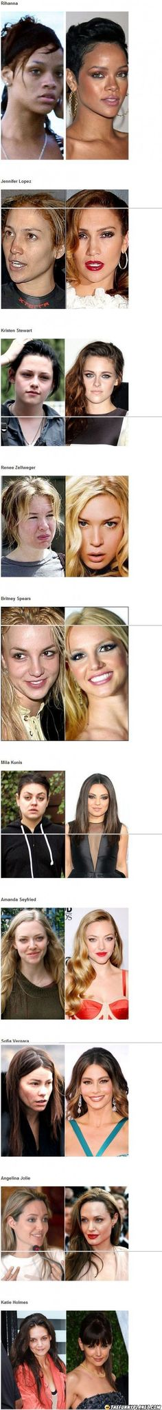10 Celebrities With And Without Makeup