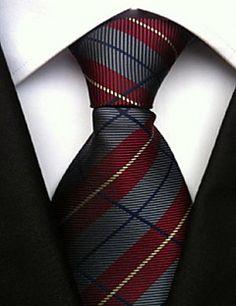Men Wedding Cocktail Necktie At Work Gray Red Colors Tie – USD $ 4.99