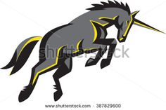 Illustration of a unicorn horse charging viewed from the side set on isolated white background done in retro style.  - stock vector #unicorn #retro #illustration
