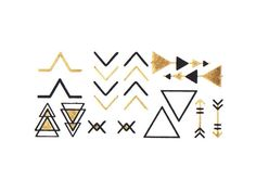 Gold and Black Tattoo metallic tattoo Triangles and door LetsGoGold, $4.95