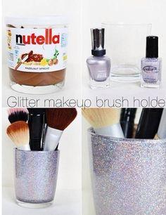Glistter makeup brush holde, Nutella, DIY