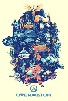 """- Inspired by Blizzard Entertainment's Overwatch - Official Premium 5 Color Screen Print featuring all 22 Characters - Limited Edition of 900 - Approximately 24"""" x 36"""" * Please allow up to 3-4 weeks f"""