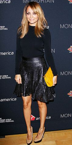 Leather can be incredibly feminine, just look for voluminous shapes like Nicole Richie's Winter Kate skirt.