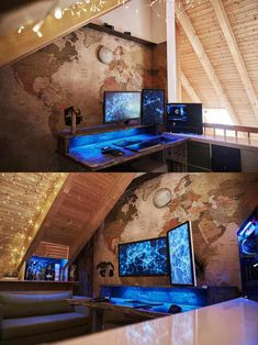 DIY Computer Desk Ideas Source by techgeekroy Gaming Desk Setup, Diy Computer Desk, Gamer Setup, Pc Setup, Home Office Setup, Home Office Design, Video Game Rooms, Game Room Design, Gamer Room