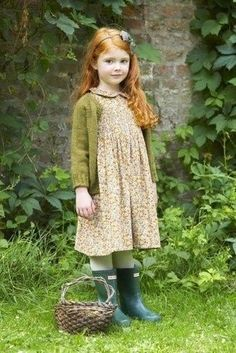 This combo of an army green cardigan and nude floral dress will enable you to keep your little girl's' style clean and simple. The footwear choice here is pretty easy: round off this getup with dark green rain boots. Little Girl Fashion, Fashion Kids, Kid Styles, Beautiful Children, Cute Kids, Redheads, My Girl, Little Girls, Kids Girls