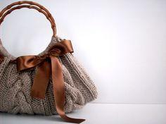 Knit Handbag NzLbags tote Handmade - Handbag - Shoulder Bag, Everyday Bag, Beige brown bow, fall autumn fashion, christmas gift idea. $70.00, via Etsy.