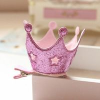 New Baby Girl PU Hollow Stars Princess Crown Hairpins Barrettes Tiaras Headwear Hair Accessories