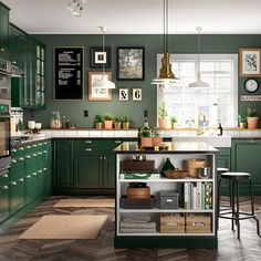 Ikea kitchen cabinets - A green and fresh BODBYN kitchen – Ikea kitchen cabinets Kitchen Cabinet Shelves, Green Kitchen Cabinets, New Kitchen, Cabinet Doors, Dark Green Kitchen, Kitchen Island, Kitchen Walls, Kitchen Cupboard, Kitchen Drawers
