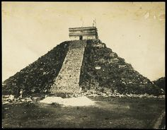 Casa del Adivino, Chichen-Itza, Yucatan in Views of Aztec, Maya, and Zapotec ruins in Mexico, 1882, Désiré Charnay. Gelatin developing out paper, 32 X 35 cm. The Getty Research Institute, 94.R.31