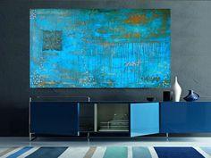 Large Abstract Painting - Original Art - Textured - Impasto - Turquoise - Fleur de Lis - Contemporary - Acrylic - 24x48. $399.99, via Etsy.