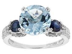 4.42ct Glacier Topaz(Tm), .60ctw Blue Sapphire, And .40ctw White Zircon Sterling Silver Ring