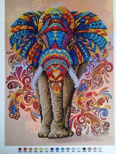 Beaded cross stitch elephant, Modern needlework,Bead embroidery kit , Beadpoint pattern seed beads, Symbol of prosperity Diy Bead Embroidery, Embroidery Kits, Cross Stitch Embroidery, Beaded Cross Stitch, Cross Stitch Kits, Cross Stitch Designs, Elephant Cross Stitch, Cross Stitch Animals, Cross Stitch Pattern Maker