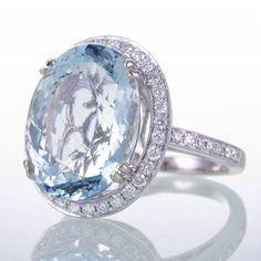 Large Aquamarine Oval Diamond Pave Engagement Ring by samnsue