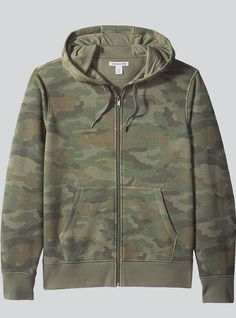 Adults Mens Camo Camouflage Full Zip Up Hoodie Hood Hooded Jacket Pockets S 5XL