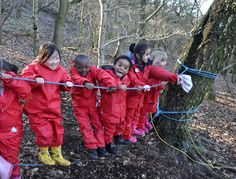 A rope bridge can be a great activity for children to enhance their teamwork and collaborative skills.