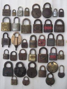 Large Group Lot of Early Vintage Brass & Metal Locks Padlocks