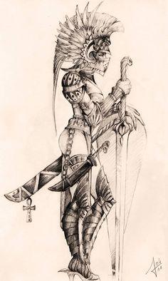 woman warrior by llewllaw - warrior woman sketch Warrior Tattoo Sleeve, Warrior Tattoos, Sleeve Tattoos, Aztec Warrior Tattoo, Female Tattoo Sleeve, Armor Tattoo, Viking Tattoo Sleeve, Egyptian Tattoo Sleeve, Helmet Tattoo