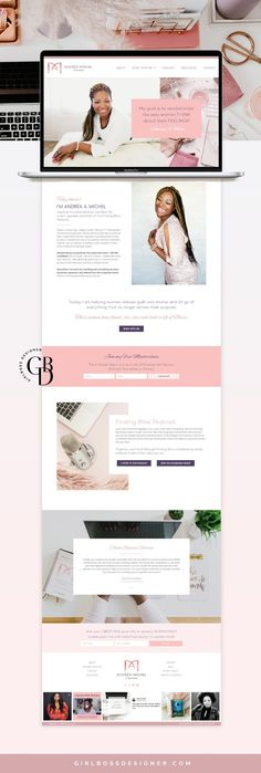 Blush and Pink WordPress Website Design for Transformational Life Coach Coach & Consultant – Andréa Michel. A Modern, chic color palette and upleveled web design matches this female entrepreneur's enegy and clarity. Web design, by Girlboss Designer. Website Design Layout, Wordpress Website Design, Responsive Web Design, Website Design Inspiration, Design Layouts, Web Layout, Website Designs, Flat Web Design, Ui Design