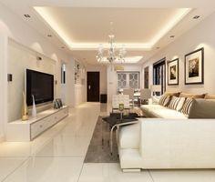 Elegantes Wohnzimmer In Weiss Gestalten Und Angehangte Decke Montieren Lassen