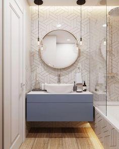 Amazing DIY Bathroom Ideas, Bathroom Decor, Bathroom Remodel and Bathroom Projects to help inspire your master bathroom dreams and goals. Modern Bathroom Design, Bathroom Interior Design, Bathroom Layout, Small Bathroom, Bathroom Ideas, White Bathroom, Modern Bathroom Lighting, Industrial Bathroom, Interior Ideas