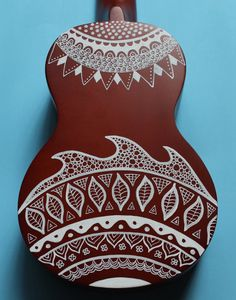 Zentangle-Inspired Hand-Painted Ukulele